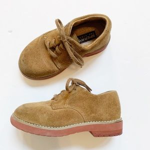 Sperry Topsider Tevin Boys Suede Camel Dress 8.5w